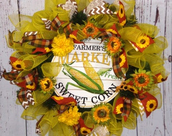 Country Wreath,Farmhouse Wreath, Winter Wreath, Spring Wreath, Summer Wreath, Sunflowers, Deco Mesh, Front door wreath