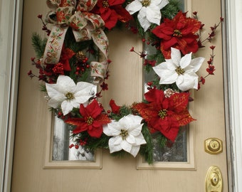 Poinsettia  Christmas Wreath, White poinsettia Xmas Wreath, Evergreen poinsettia wreath, wreath, wreaths, Christmas Wreath, Xmas Wreath