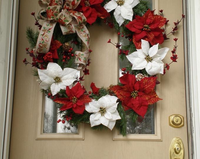 Poinsettia  Christmas Wreath, White poinsettia Xmas Wreath, Evergreen poinsettia wreath, wreath, wreaths, Christmas Wreath, Xmas Wreath