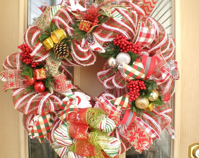 Christmas Wreath, Wreath, Front Door Wreath, Back Door Wreath, Wreaths, Holiday Wreath, Christmas Mesh Wreath,Christmas Door Hanger