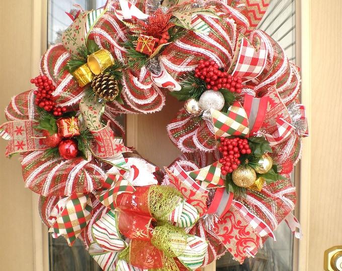 Christmas Wreath, Wreath, Front Door Wreath, Back Door Wreath, Wreaths, Holiday Wreath, Christmas Mesh Wreath,Christmas Door Hanger