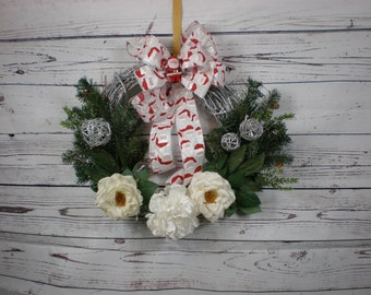 Santa Wreath, Santa Claus Wreath, Xmas, Xmas Wreath, Christmas, Christmas Wreath, Red Wreath, White Wreath, Magnolia Wreath