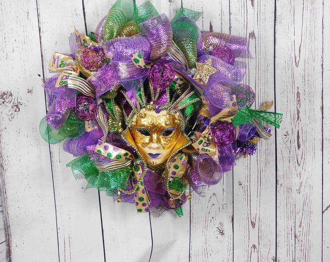 Mardi Gras Wreath, Spring Wreath, Summer Wreath, Festive Wreath, Wreaths, Wreath, Everyday Occasion
