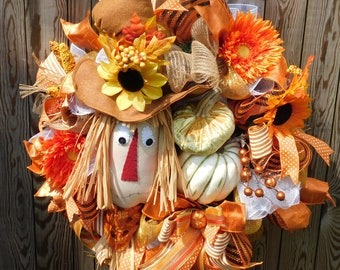 Scarecrow wreath, Wreaths, Deco Mehs, Pumpkins, Ribbons, Handmade scarecrow, Front Door, Back Door,Raffia,Sunflowers