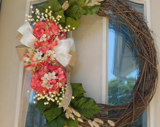 Blended Hydrangea, Hydrangea Wreath, Hydrangea, Spring Wreath, Summer Wreath,Welcome Wreath, Front Door Wreath, Back Door Wreath,