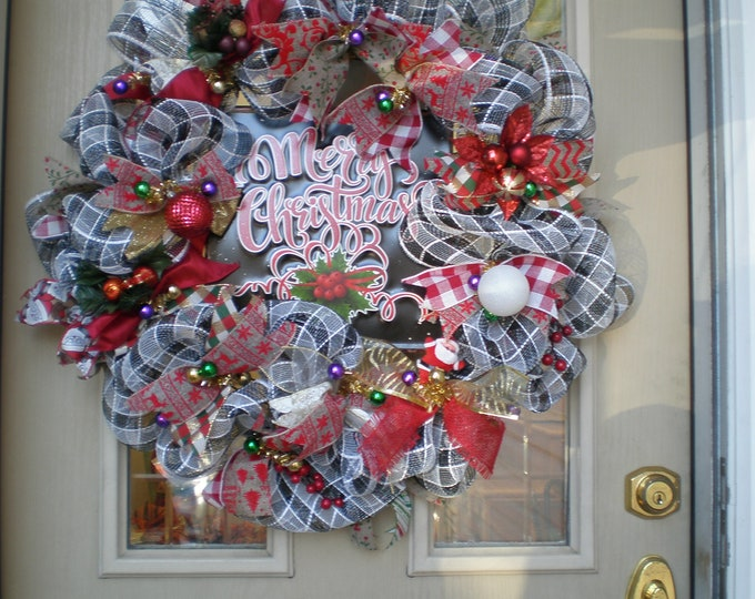 Christmas wreaths for front door, deco mesh, Merry Christmas Wreath  Wreath, Wreaths,Black & White,back door wreath