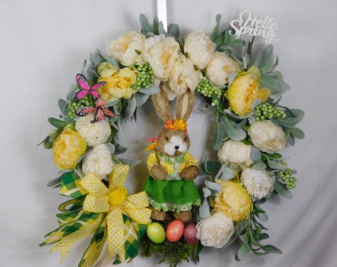 Bunny Wreath, Spring Wreath, Summer Wreath, Easter Wreath, Welcome Wreath, Front Door, Back Door Wreath, Wreath, Wreaths,