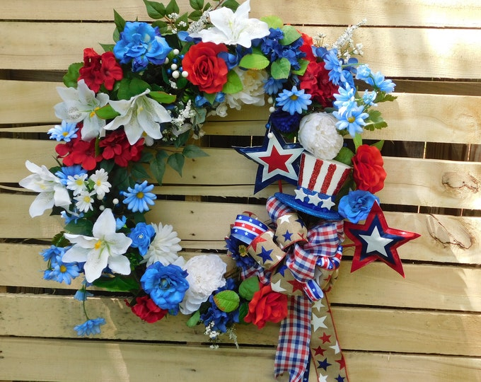 Patriotic Wreath, Wreaths, Summer Wreath, Spring Wreath, Everyday Occasion, Front Door Wreath, Back Door Wreath, Fourth of July