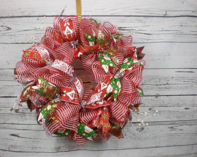 Christmas Wreath, Wreaths, Front Door Wreath, Back Door Wreath, Xmas, Xmas Wreath, Holiday Wreath, Deco Mesh Red and White Wreath