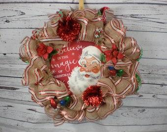 Santa Wreath, Front Door Wreath, Wreath with Sign, Wreaths, Wreath, Deco Mesh Wreath, Santa Claus, Winter wreath, Holiday wreath, xmas wreat