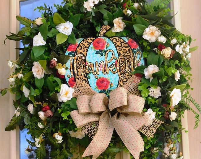 Autumn Wreath, Harvest Wreath, Pumpkin, Evergreen Wreath, Wreath, Wreaths, Front Door Wreath, Back Door Wreath, Thanksgiving Wreath