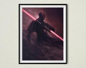The Phantom Print | Star Wars Inspired | Darth Maul | Star Wars Gift | Pop Culture | Wall Decor | Darth Maul Art | Sith | Star Wars Art