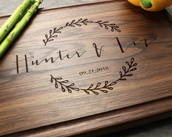 Personalized, Engraved Cutting Board with Wreath and Name Design for Wedding or Engagement Gift #46
