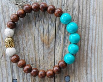 Essential oil diffuser bracelet yoga bracelet mala beads meditation bracelet yoga jewelry lava beads turquoise bracelet Buddha bracelet