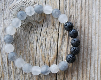 Essential oil diffuser bracelet yoga bracelet mala beads meditation beads yoga beads grey agate lava beads