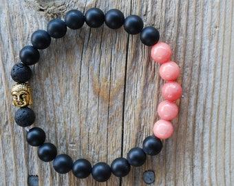 Essential oil diffuser bracelet yoga bracelet mala beads black obsidian bracelet meditation beads yoga beads lava beads