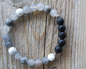 Essential oil diffuser bracelet yoga bracelet mala beads meditation beads yoga beads grey agate frosted howlite picture jasper lava beads