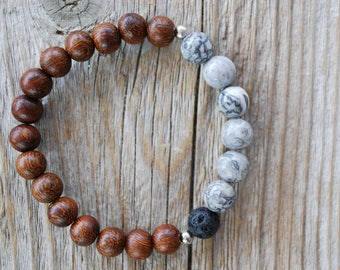 Essential oil diffuser bracelet yoga bracelet mala beads grey jasper bracelet meditation beads yoga beads lava beads madre de cacao