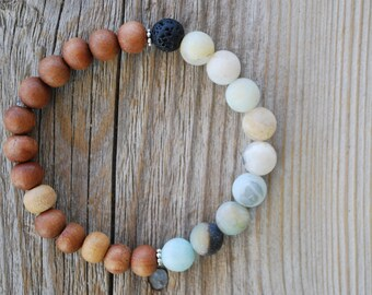 Essential oil diffuser bracelet yoga bracelet mala beads meditation bracelet  yoga jewelry amazonite lava beads sandalwood