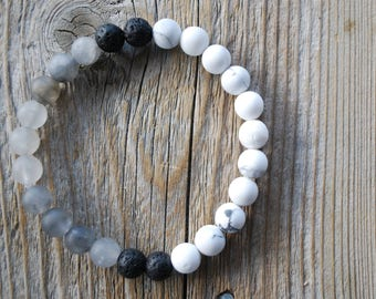 Essential oil diffuser bracelet yoga bracelet mala beads meditation beads yoga beads grey agate frosted howlite lava beads