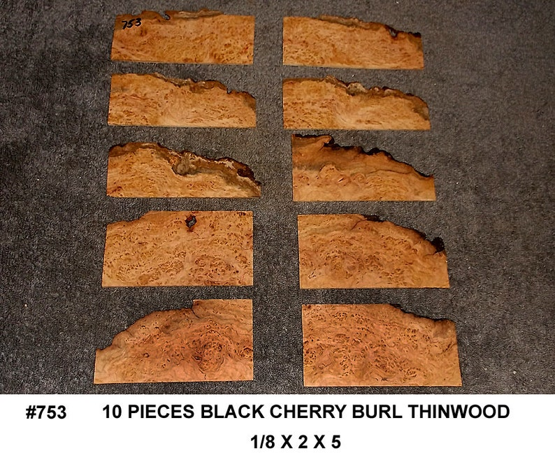 753 Black Cherry Burl 10 Pieces Super Thin Wooden Jewelry Guitar Picks Wooden Buttons Box Inlays Thin Lumber Thin Cherry Boards