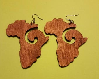 Wooden Curly Africa Earrings