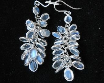 Blue Moonstone Earrings Sri Lankan Sterling Silver Bunch Drop (10E50) (NEW)