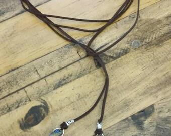 Dark brown suede tie necklace
