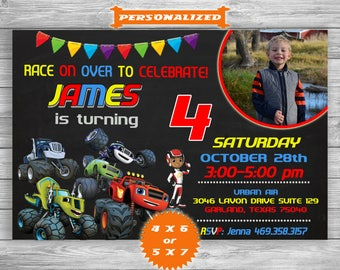 Blaze And The Monster Machines Invitation, Blaze And The Monster Machines Chalkboard Birthday Invite, Printable And Digital File