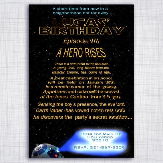 Star Wars Birthday Party Invitation Theme Custom