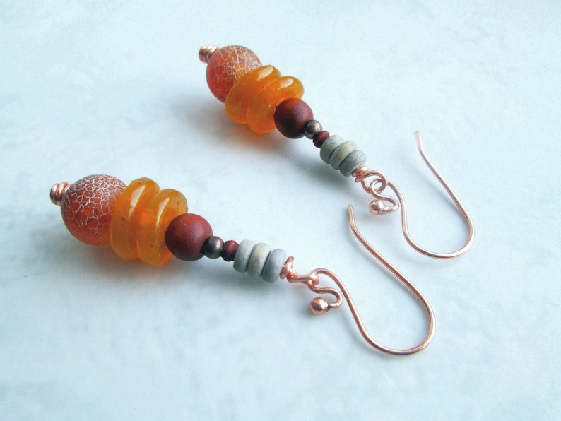 wood Orange earrings with recycled glass small dangle earrings in orange agate coconut and copper brown and grey natural materials