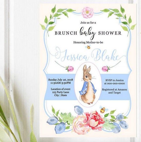 Beatrix potter baby shower invitation peter rabbit baby etsy image 0 filmwisefo