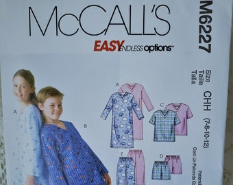 Childrens Boys Girls Pajamas Sewing Pattern McCalls M6227 Nightshirt Top  Shorts Pants Nightclothes Size 7 8 10 12 UNCUT 4f77d0c06