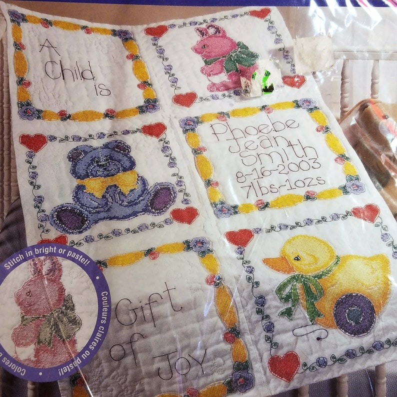 Baby Quilt Blocks.Bucilla Baby Quilt Blocks A Gift Of Joy Stamped Cross Stitch Kit Duck Bunny Teddy Bear Girl Boy Birth Announcement Baby Shower Gift