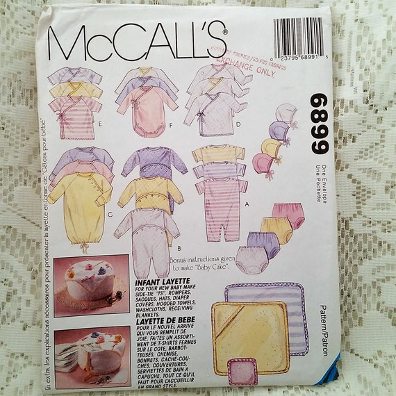 Infant Layette Sewing Pattern McCalls 6899 Romper Diaper | Etsy