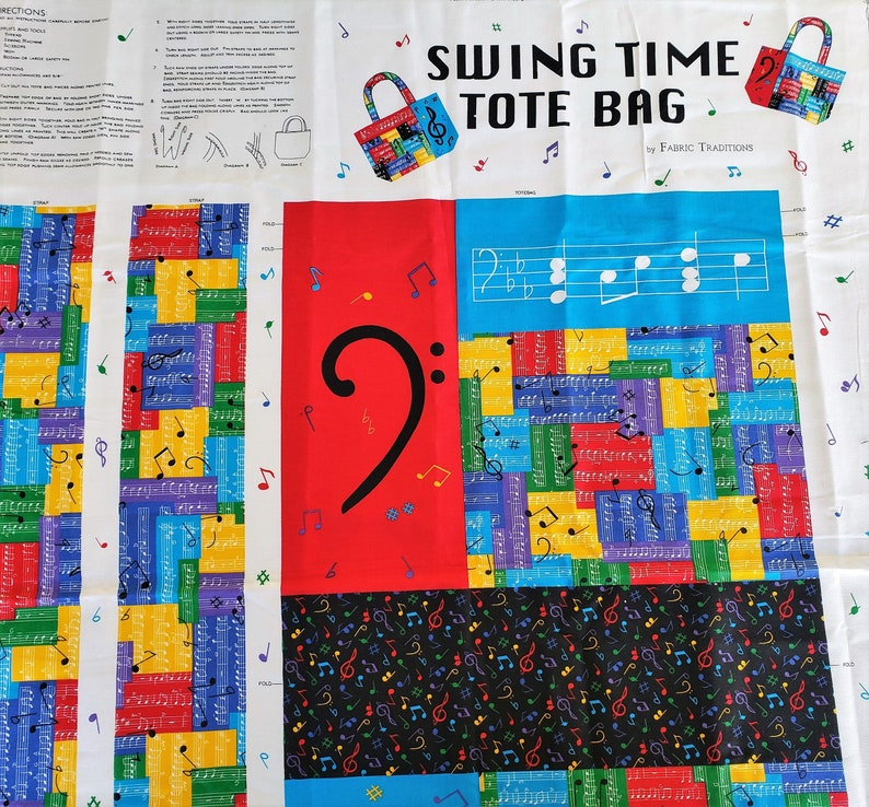 Swing Time Tote Bag Fabric Panel, Music Student Teacher, Rainbow, Sewing  Cut Sew Vintage, Autism Awareness