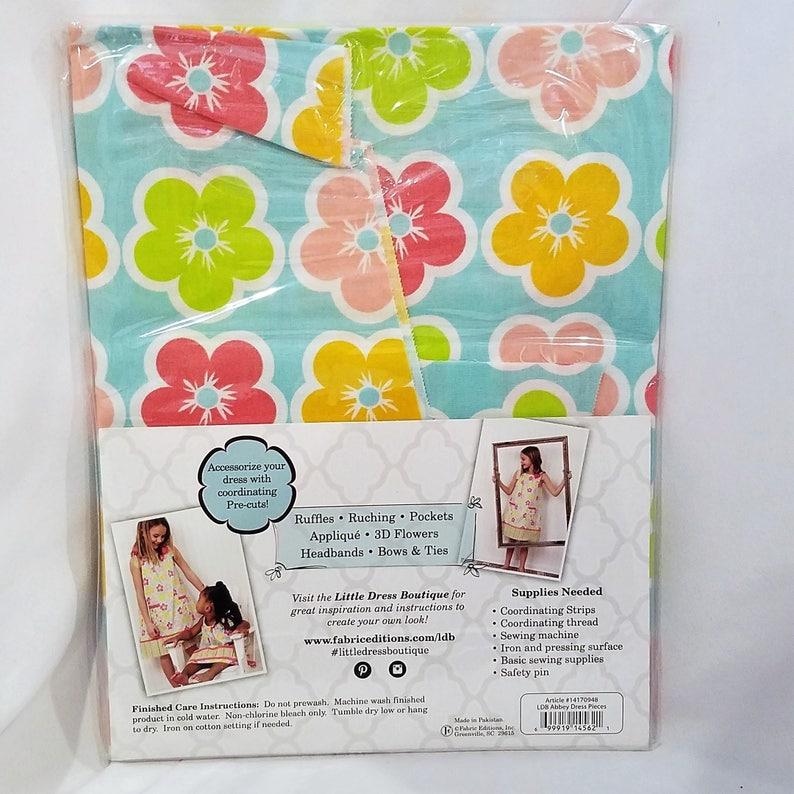 Blue Floral Little Dress Boutique DIY Girls Dress Kit Abbey Fits Sizes 3-7
