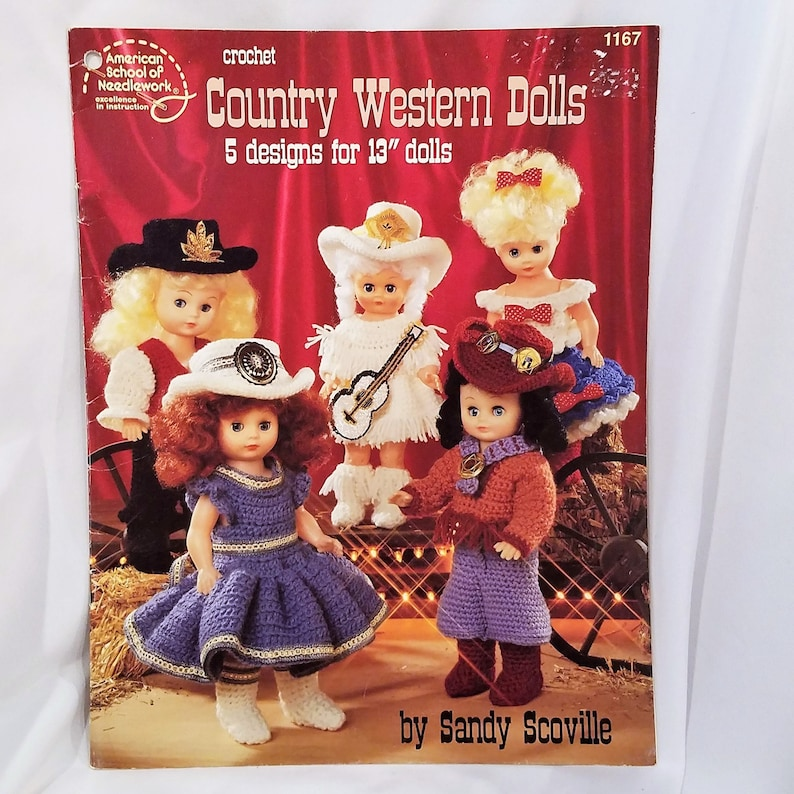 """Country Western Dolls 5 Designs for 13/"""" Dolls Crochet PATTERN//Instructions"""