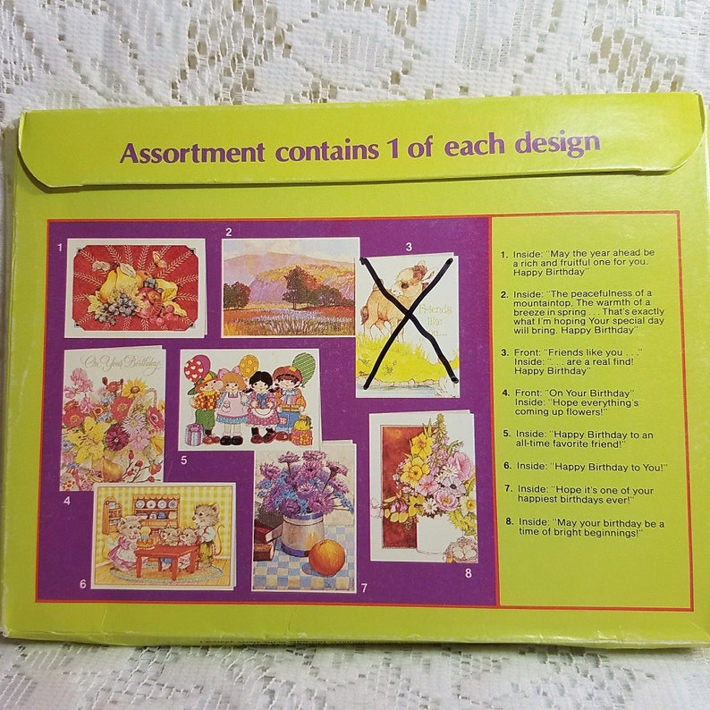 Current Vintage Birthday Greeting Cards with Envelopes 1983 Open Package Set of 8