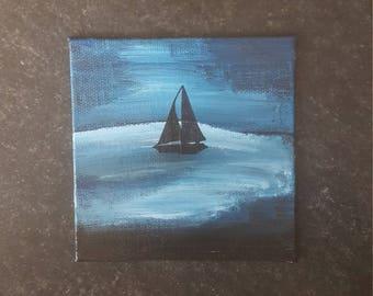 Sailboat At Night - Acrylic 4×4 Painting - Canvas