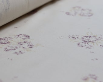Faded Floral Cabbage Rose 'Camille' - Vintage Lilac and Fawn  on Antique  Cotton | per m