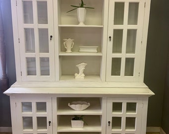 Glass Door Open Shelf 2 Piece Farmhouse Dining Room Or Kitchen Hutch Please Note Shipping Is Not Free See Options In Description