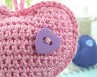 Heart Crochet Pattern THREE HEARTS  Amigurumi key chain key ring Punto Art Design baby gift easy patterns
