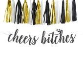 script cursive cheers bitches Garland Sign - bridal shower - bachelorette - Custom Glitter Banner Decorations - wedding - TASSEL GARLAND
