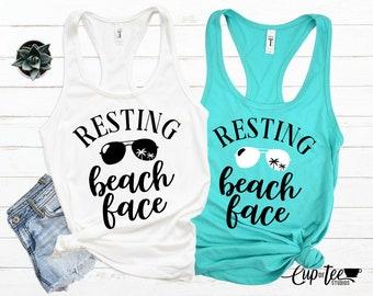 9e3e5ff06f Resting Beach Face, Women's Shirt, Summer Tank, Women's Summer Tank,  Vacation Tank, Party Tank, Party Shirts, Beach Tank, Humor shirt