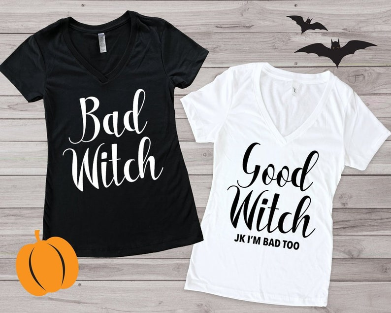 d016d01091 Duo Halloween Shirts Good Witch Bad Witch Shirts Halloween | Etsy