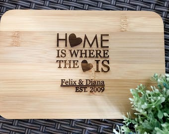 House Warming Gifts - Personalized Engraved Mini Bamboo Serving or Chopping Board