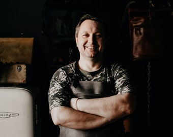 Work apron Brown Leather apron by Kruk Garage Barbers apron Welding apron Mens apron Chef apron Saddle leather apron FREE PERSONALIZATION