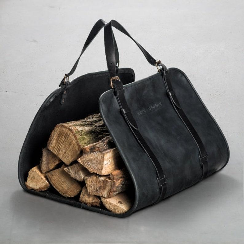 569aa33a60 Firewood tote bag by Kruk Garage Black Leather log carrier