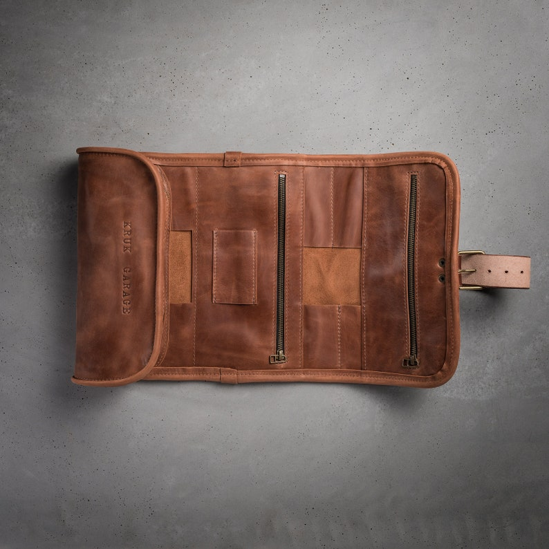 c0c6211370 Leather Wash roll Travel toiletry roll by Kruk Garage Dopp kit